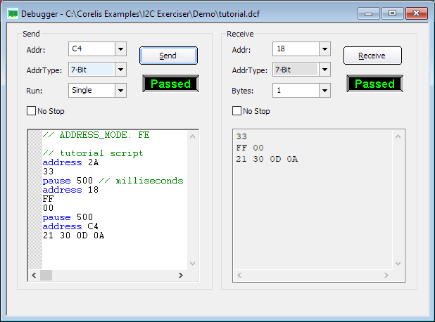 CAS 1000 I2CE Debugger Window - BusPro-I I2C Bus Analyzer